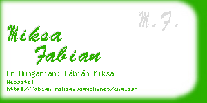 miksa fabian business card